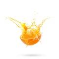 Fresh slide half of ripe orange fruit with orange juice splash w Royalty Free Stock Photo