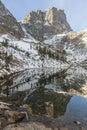Hallett Peak Relfected in Emerald Lake Royalty Free Stock Photo