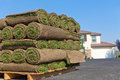 Fresh sod pallets of for new lawn Stock Photography