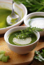 Fresh soup of celery in white bowl Royalty Free Stock Photography