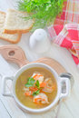 Fresh soup with chicken and shrimps Royalty Free Stock Photo