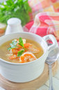 Fresh soup with chicken and shrimps Royalty Free Stock Images