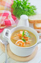 Fresh soup with chicken and shrimps Stock Images