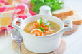 Fresh soup with chicken and shrimps Royalty Free Stock Photography