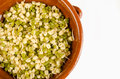 Fresh soy sprouts in a clay bowl copy space available Stock Image