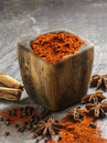 Fresh spices in a wooden bowl full of Royalty Free Stock Images