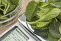 Fresh spinach on diet scale displaying nutrition facts a concept Royalty Free Stock Images