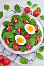 Fresh spinach salad on a table Stock Photo