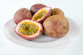 Fresh splited passion fruits Royalty Free Stock Photo
