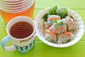 Fresh spring rolls and tea vietnamese noodle roll Stock Image