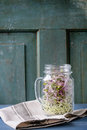 Fresh sprouts in mason jar healthy diet garlic and radish glass standing on kitchen towel over blue wooden table rustic style Stock Images