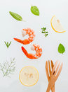 Fresh steamed shrimp isolate on white background. Boiled prawns Royalty Free Stock Photo