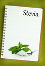Fresh stevia rebaudiana sugar blank notebook page Royalty Free Stock Photo