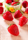Fresh strawberrie selective focus on the front strawberry Stock Photography