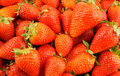 Fresh strawberries background close up Stock Photography