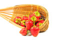 Fresh strawberries in a bamboo basket on white background Stock Images