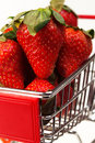 Fresh strawberries on cart Royalty Free Stock Photos
