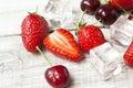 Fresh strawberries and cherries fruit cherry organic Royalty Free Stock Photo