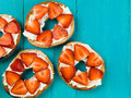 Fresh Strawberries and Cream Cheese On a Bagel Royalty Free Stock Photo