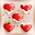 Fresh strawberries in cream on colorful background.
