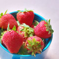 Fresh strawberries in a cup healthy fruit snack Royalty Free Stock Images