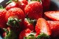 Fresh strawberries extreme close-up Royalty Free Stock Photo