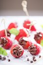 Fresh strawberries filled with chocolate mousse healthy Royalty Free Stock Photo
