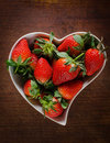 Fresh strawberries in heart shape Royalty Free Stock Photo