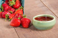 Fresh strawberries and homemade preserves or jelly Stock Photography