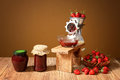 Fresh strawberries and jam in a jar Royalty Free Stock Photo