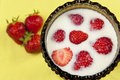 Fresh strawberries in milk Royalty Free Stock Photos