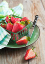Fresh strawberries ripe strawberry in basket Stock Image