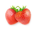 Fresh strawberries two over white background Stock Photos