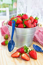 Fresh strawberries in vintage bucket berries Royalty Free Stock Image