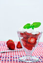 Fresh strawberries and whipped cream. Stock Photos