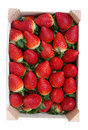 Fresh strawberries in a wooden box Royalty Free Stock Photo