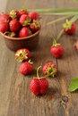 Fresh strawberries on a wooden table Royalty Free Stock Images