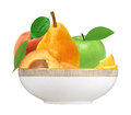 Fresh strawberry, apricot, peach, apple and pear in plate Royalty Free Stock Photo