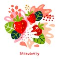 Fresh strawberry berry berries fruits juice splash organic food juicy splatter strawberries on abstract background Royalty Free Stock Photo