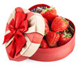 Fresh strawberry in box with bow gift on valentines day strawberries white background Stock Photo