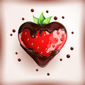 Fresh strawberry in chocolate on colorful background.