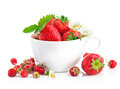 Fresh strawberry in cup with green leaf and flower on white background Royalty Free Stock Photography