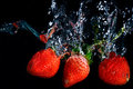 Fresh strawberry dropped into water with splash on black backgro Royalty Free Stock Photo