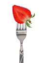 Fresh strawberry on fork Royalty Free Stock Photo