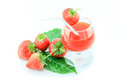 Fresh strawberry and juice strawberry s on white background Royalty Free Stock Images