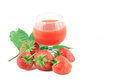 Fresh strawberry and juice strawberry s on white background Stock Photo