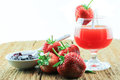 Fresh strawberry and juice strawberry s on white background Royalty Free Stock Photo