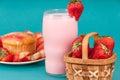Fresh Strawberry Muffin with Strawberry milk Royalty Free Stock Photo