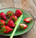 Fresh strawberry on a plate Royalty Free Stock Images