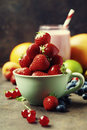 Fresh strawberry, smoothie and fruits Royalty Free Stock Photo